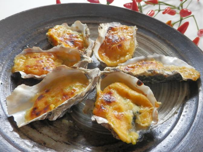 牡蠣のネギ味噌焼き